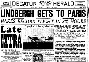 Newspapers.com - Lindbergh Flies Over the Atlantic