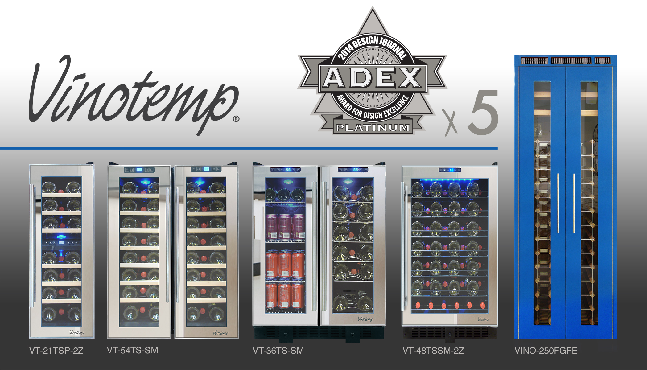 Vinotemp's five Platinum ADEX award-winning products.