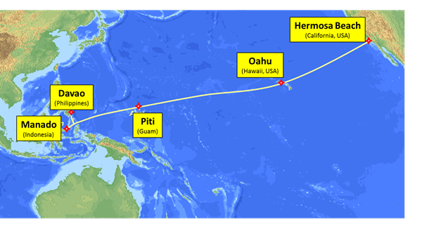 The SEA-US Trans-Pacific Submarine Cable System Route