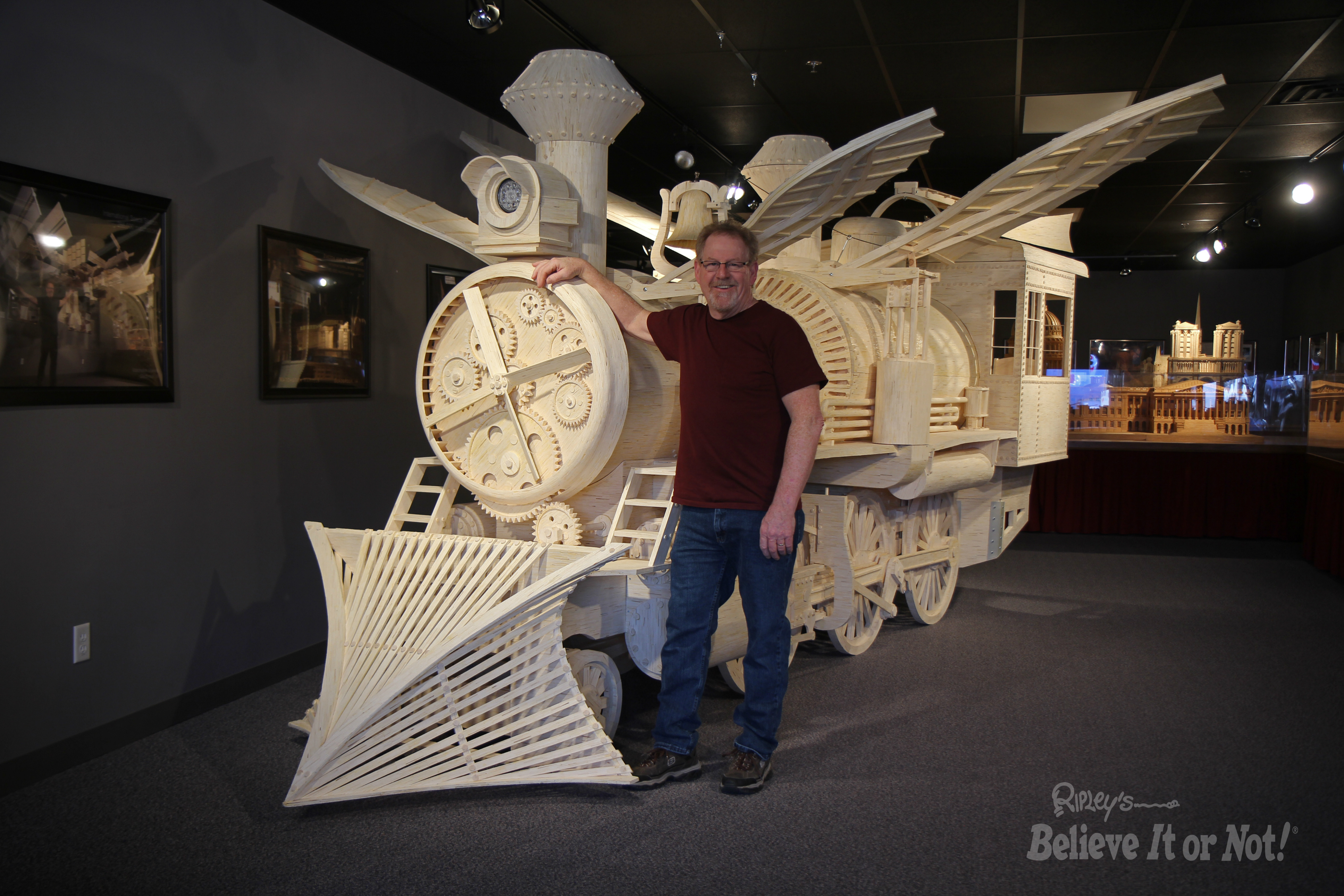Artist Pat Acton with Plane Loco