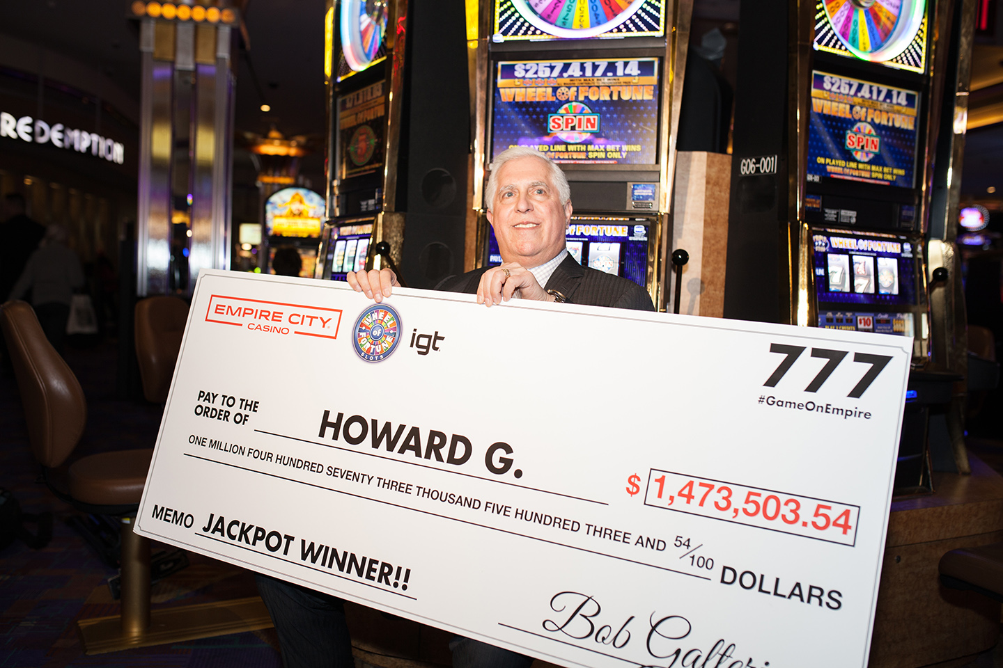 Howard G. Jackpot with Check